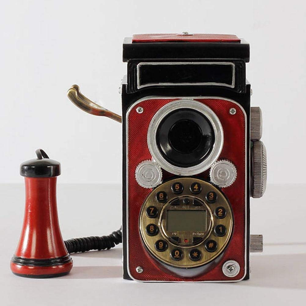 FACAIG Retro crafts, landline telephone, red color camera style, Decorations Lounge, with buttons-pressure