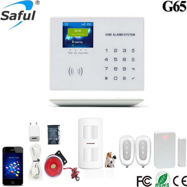 2017 the newest colour LCD touch wireless 5V gsm intelligent alarm system with G65 ios/android APP