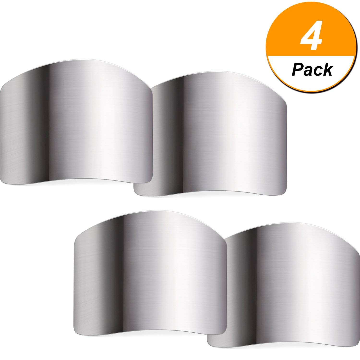 TecUnite 4 Pack Stainless Steel Finger Guard Finger Protector Safe Knives Guard Chop Safe Slice Kitchen Tool For Dicing and Slicing in Kitchens