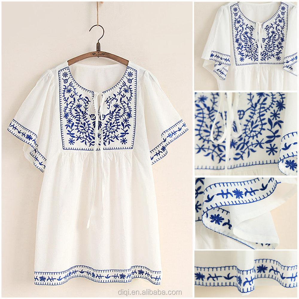 Latest Designer Blouses White Cotton Embroidery Blouses Elegant ...