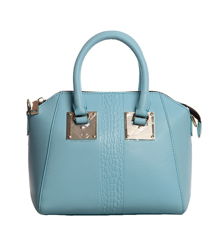 fashion trend colors top zip closure leather lady handbag with attachable shoulder strap