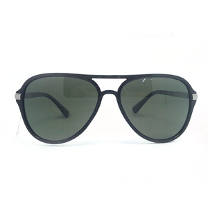 OEM Shades High Quality Metal Temples Decoration Full Black Aviator Frame Retro Sunglasses