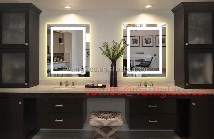 Estilo europeo de lujo de ba o espejo con light led for Espejo cuadrado sin marco