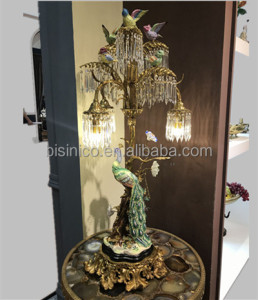 Golden Peacock Multiple Droplight Bronze Table Lamp, Antique Brass Desk Light With Colorful Sparrow Perched On The Trunk