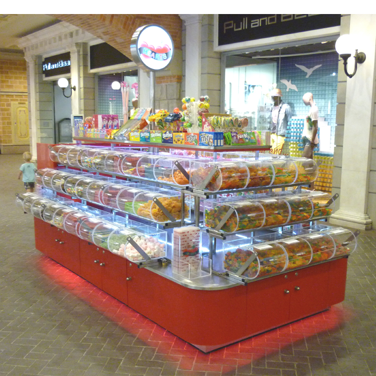 Modern sweet food display mall kiosk stand candy shop interior design