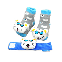 lovely cat plush animal toy baby ifant wrist rattle foot socks
