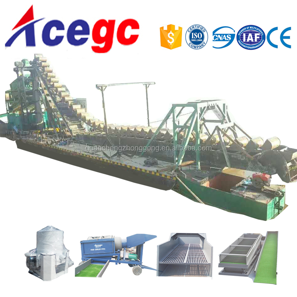 Widely used river gold / placer gold mining equipment,mini river gold dredger and dredging bucket chain boats for sale