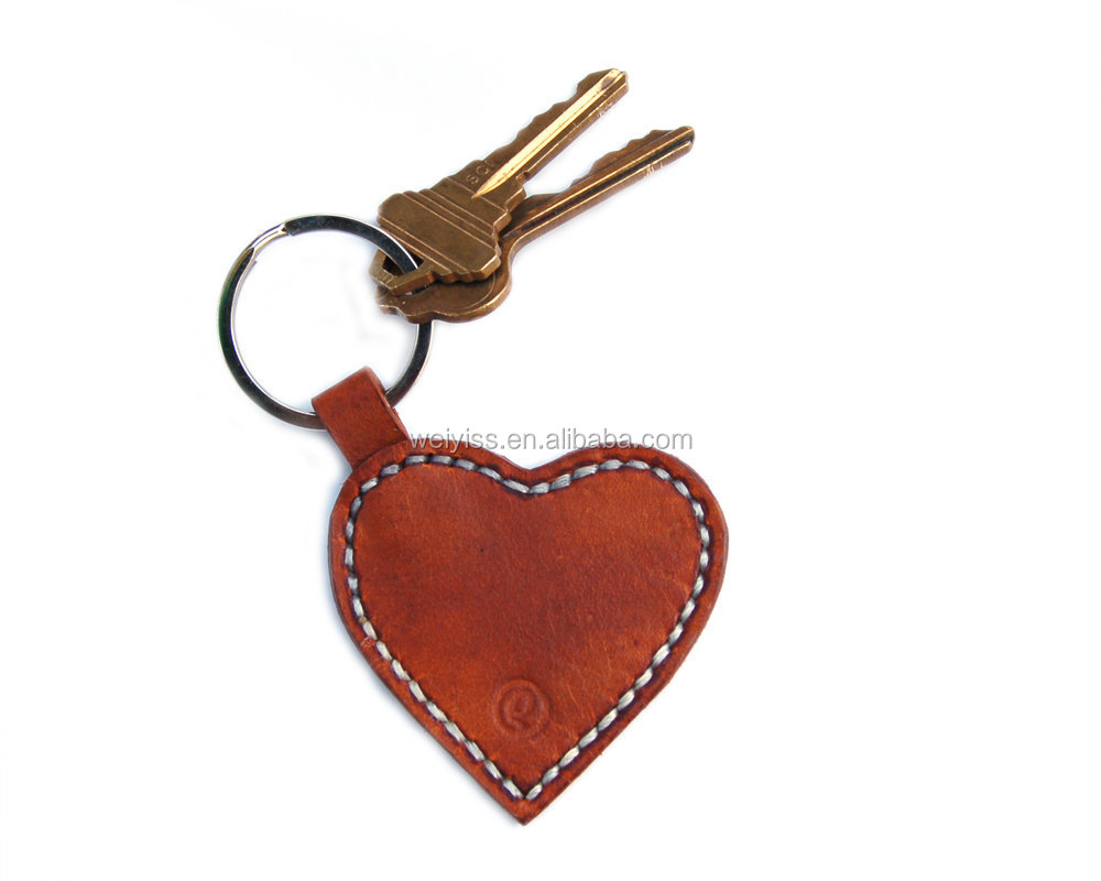personalized leather keychain hand stamped heart shaped leather