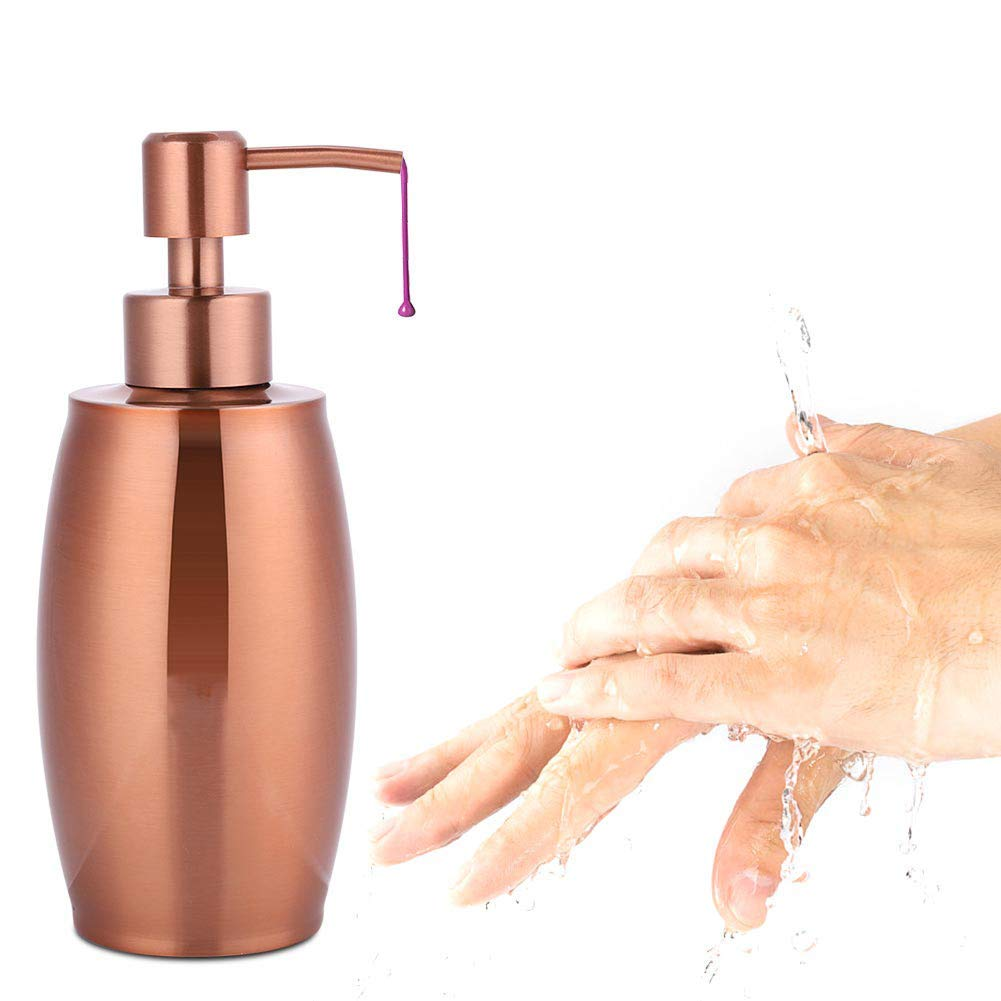 Delaman Hand Soap Dispenser Hand Pumped Pump, Rose Gold, 12oz(350ML), Stainless Steel, Great Essential Oils, Lotions, Liquid Soaps