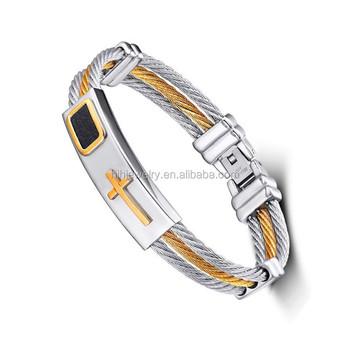 2017 New Gold Cross Bracelet Men Jewelry Stainless Steel Mens Rock Bracelets Bangles