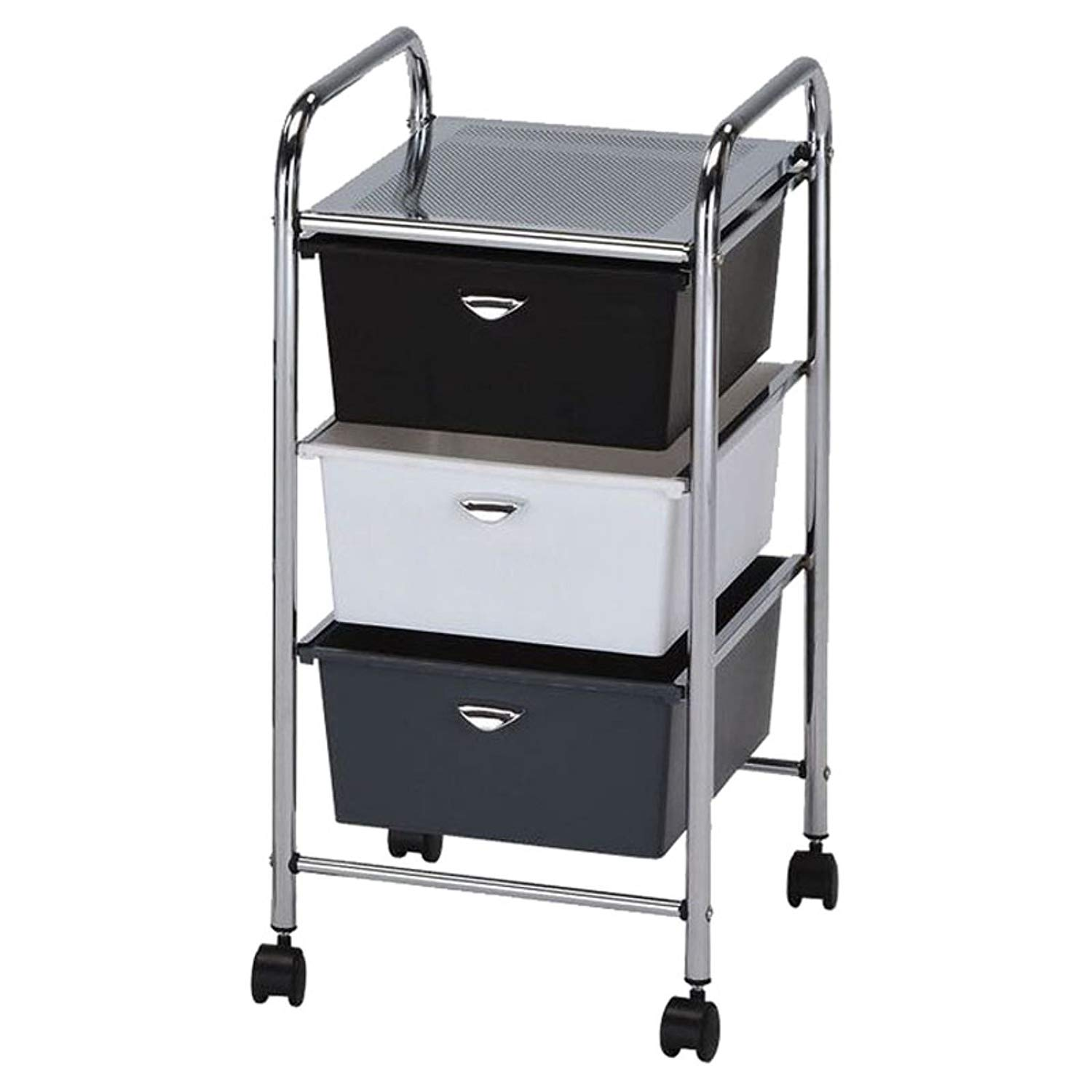 Rolling Drawer Bin Storage Organizer Utility Cart with 3 Tier Multi Color Drawer Organizer for School, Home, Office, Multi-Purpose Storage Solution