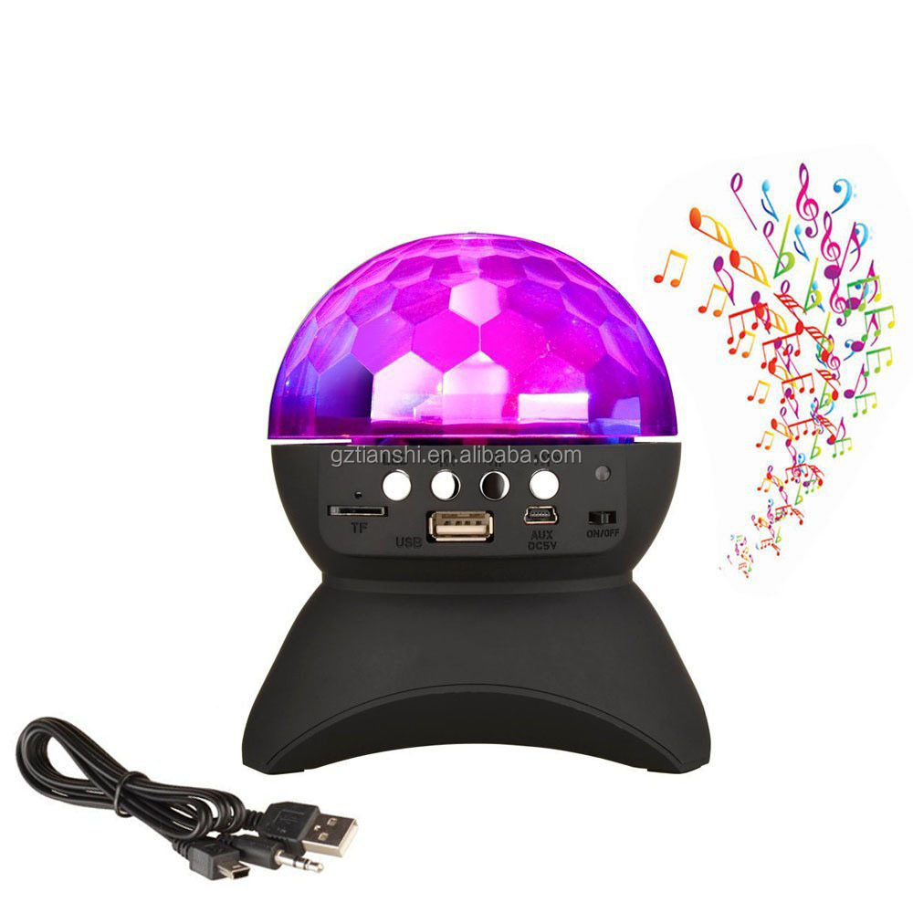 Disco DJ Bluetooth Speakers Rotating LED Strobe Bulb 6 Changing Multi-Color Crystal Stage Light Bluetooth Speaker