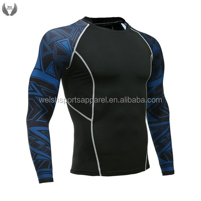 Custom Printed BJJ Apparel Fight Wear MMA Gear Mens Long Sleeve Rash Guard