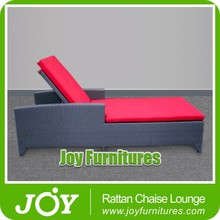 Red Cushion PE Rattan Chaise Lounge