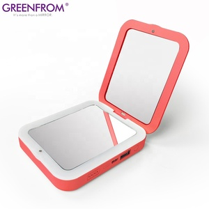 Living Coral PANTONE 16-1546 flashlight function and dimmable light LED compact mirror with power bank