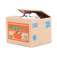 Funny ABS Japanese mischief stealing cat money bank pussy stealing piggy bank coin storage box plastic money box