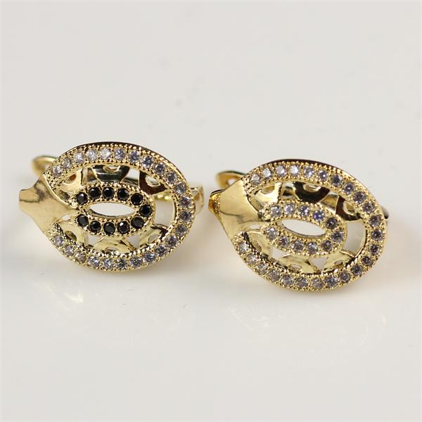 High quality hypoallergenic evil eye micro pave 14k gold huggie earrings for outing