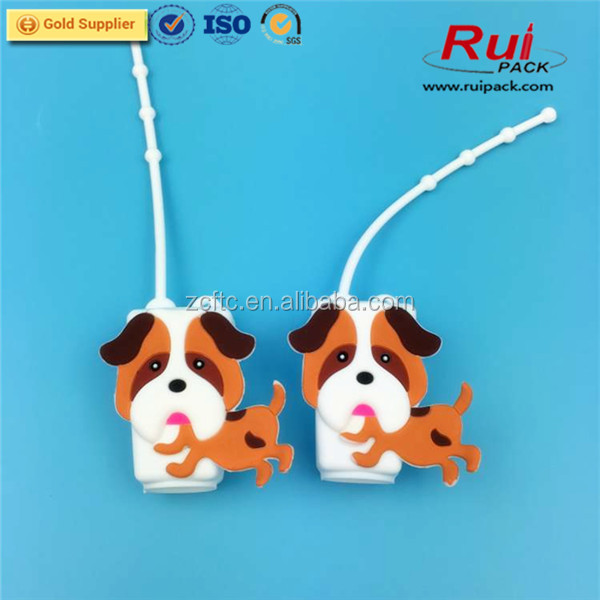 30ml empty shampoo bottle with silicone package,dog shape hand sanitizer silicone holder