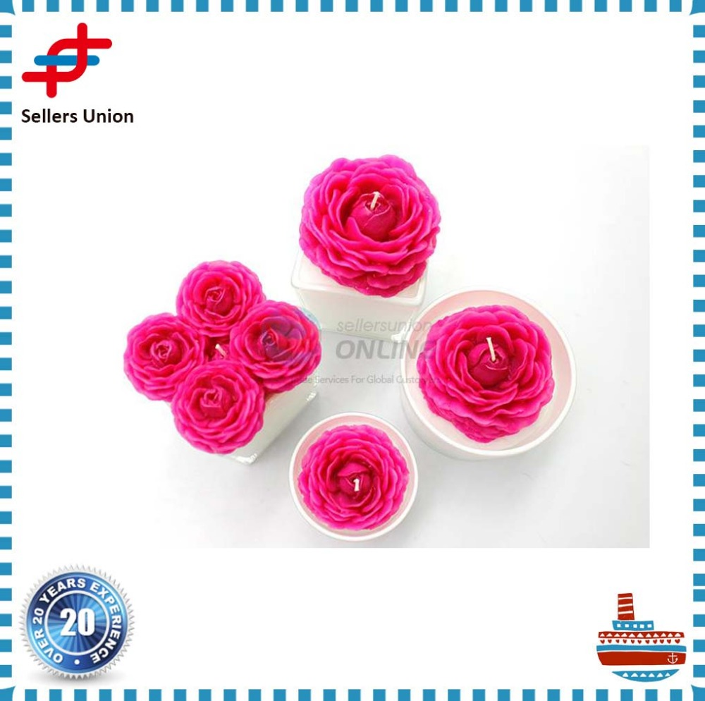 Wholesale Glass gift Beautiful Flower Candles for Home Decoration