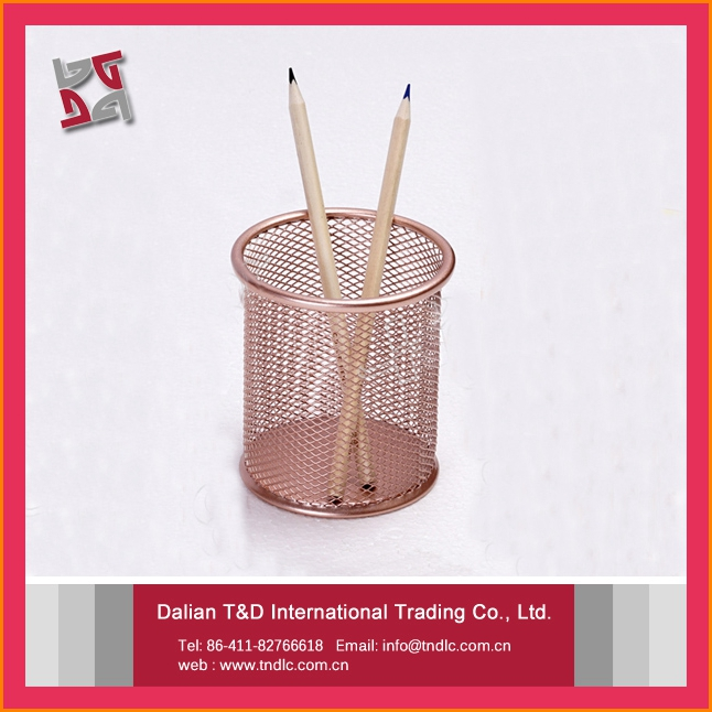 high quality promotional gifts metal mesh power coated office desk organizer rose gold pencil holder