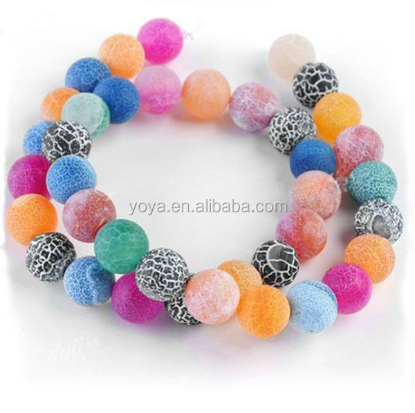 AB0166 Multicolor matte frosted agate,fire agate,Colorful Agate Round Beads