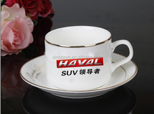 creative new china bone 200-300 ml ceramic 3 -piece business gift set including mug saucer and stainless steel spoon