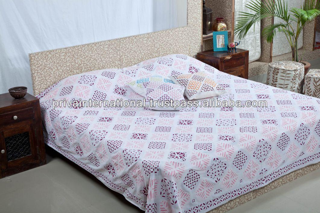 100% Cotton Indian Handmade Applique Work Organdy Bed Spreads ...