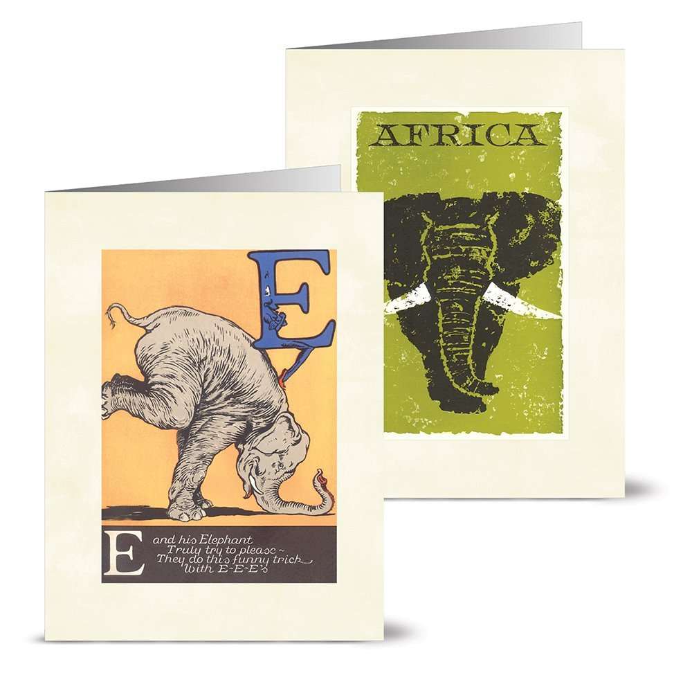Vintage Elephants - 36 Note Cards - 12 Designs - Blank Cards - Off-White Ivory Envelopes Included