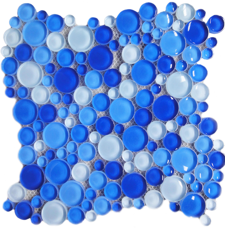 Aqua Bubble Round Blue Gl Mosaic Tile Tiles
