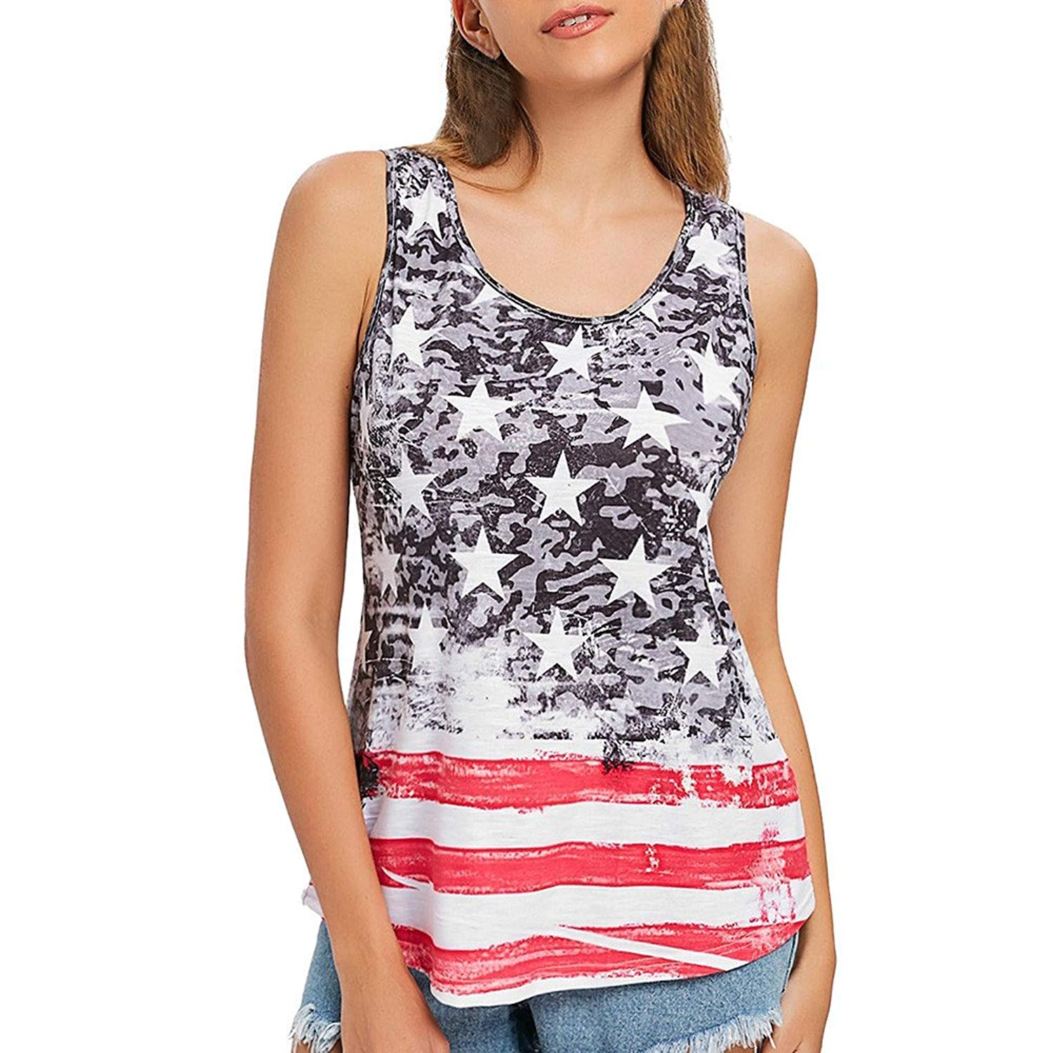Mr.Macy Men Stars Striped All-Over Casual Print Tank Slim Fit Muscle Shirt Vest