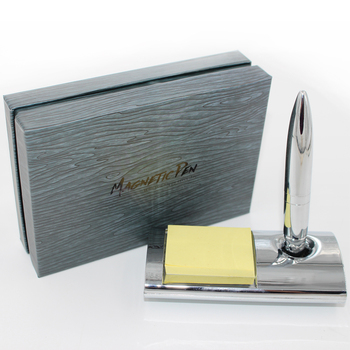 Magnetic Floating Pen - Bright chrome ballpoint Pen with Magnetic Base and Sticky notes - Writing Pen With Magnet Holder