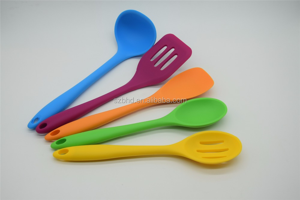Assorted Color 5pcs Silicone Cooking Utensils Set, Silicone Utensils Sets, Utensils Kitchenware