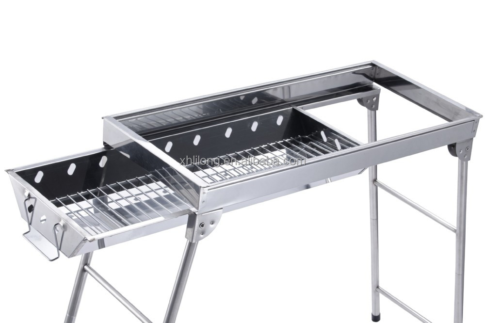 Adjustable legs stainless steel charcoal BBQ grill with drawer design