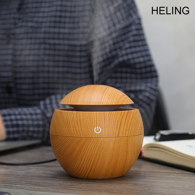 Aroma Essential Oil Diffuser 130ML Aromatherapy Cool Mist Humidifier Wood Grain Ultrasonic Nebulizer home office plug USB,