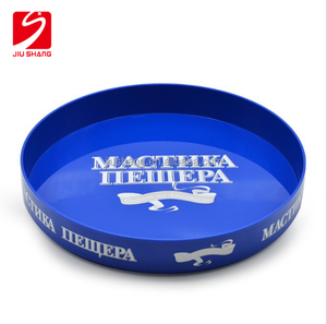 Round red plastic bar serving tray for wholesale, promotional plastic anti slip bar tray, custom tin bar tray with printing