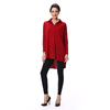 Women's Long Sleeve Red Blouse Front Short long back