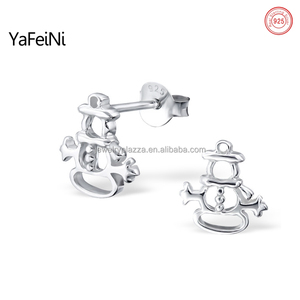 Simple snowman design earring stud, trendy christmas gift for man 2013 for girls