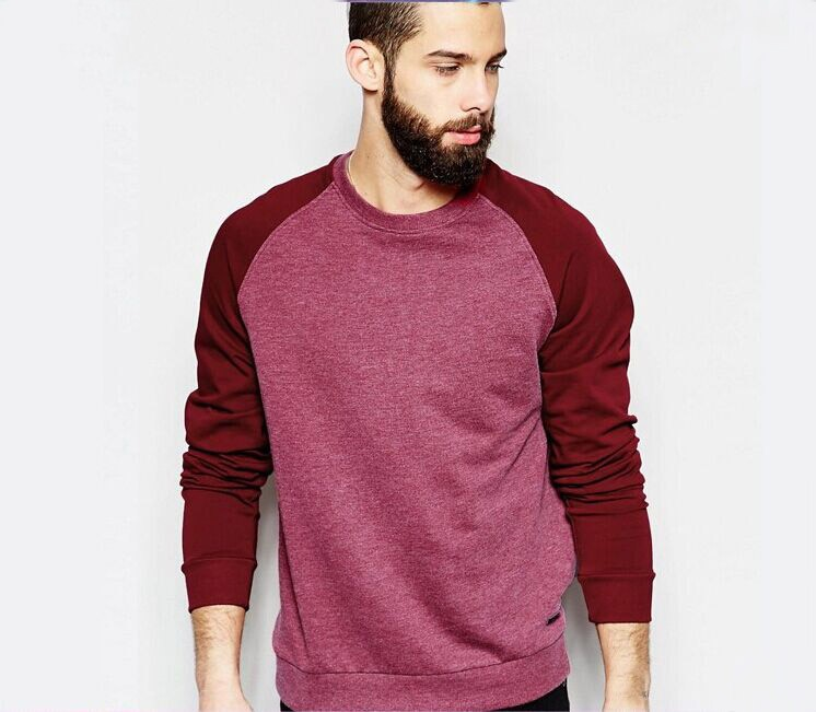 Wholesale Men Pullover contrast color raglan sleeve sweatshirt hoodie