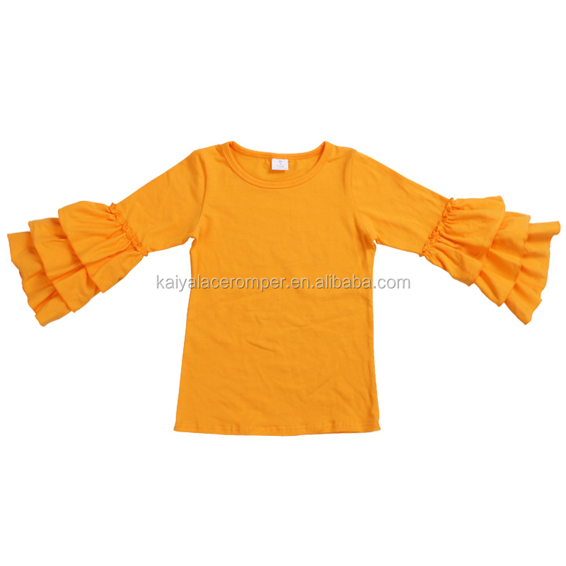 30e3f5dbb5246 mustard solid color kids tops long sleeve ruffled t shirt baby girl cotton  shirt design for kids