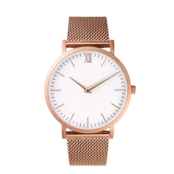 2016 vogue ladies rose gold stainless steel mesh watch