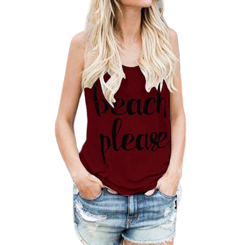 e127ec2772f2 Get Quotations · Hengshikeji Clearance Women Tank Crop Tops Print Letter Casual  Sleeveless Blouse Teen Girls Cami Shirts Tops