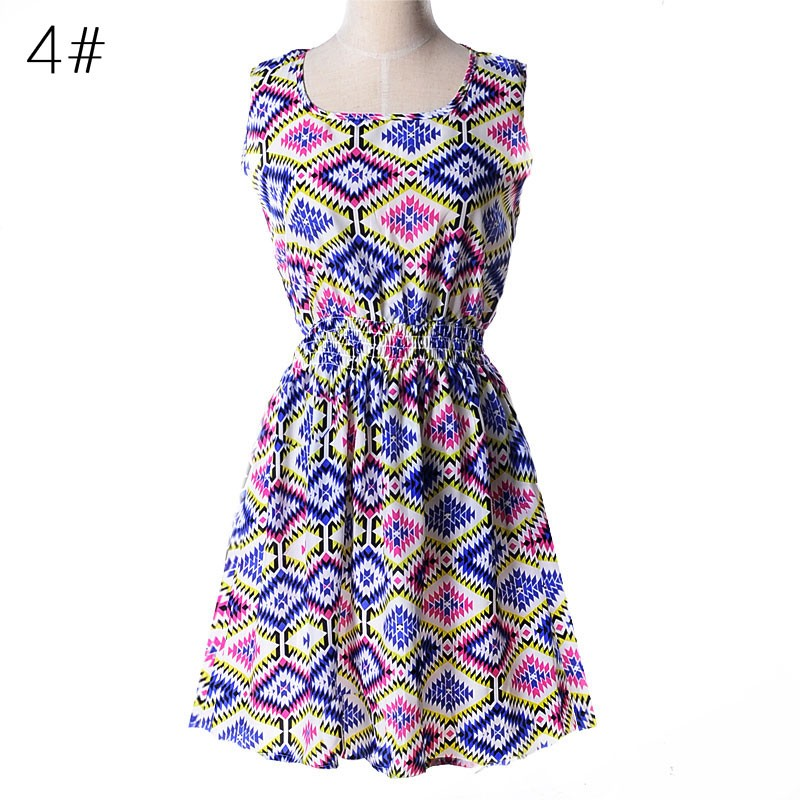 New Ladies Fashion Floral Printed Women dress Chiffon Dresses Casual Summer Dress