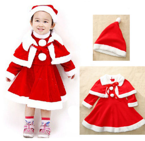 Get Quotations · New Kids Baby Girls Christmas Party Costume  (Hat+Cloak+Dress) Outfits 3pcs - Cheap Kids Christmas Outfits Girls, Find Kids Christmas Outfits