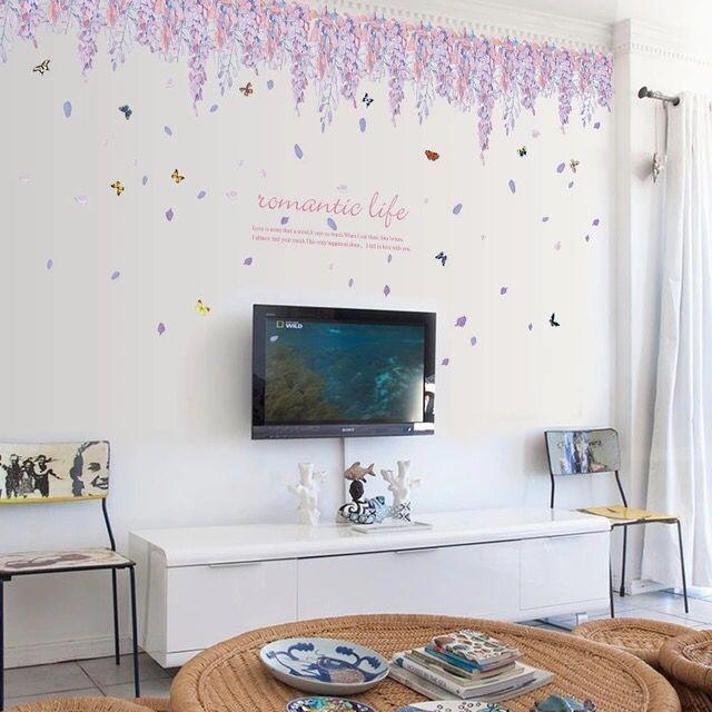 Cute owl wall decal purple flower sea waist line sticker for Fomic sheet wall hanging