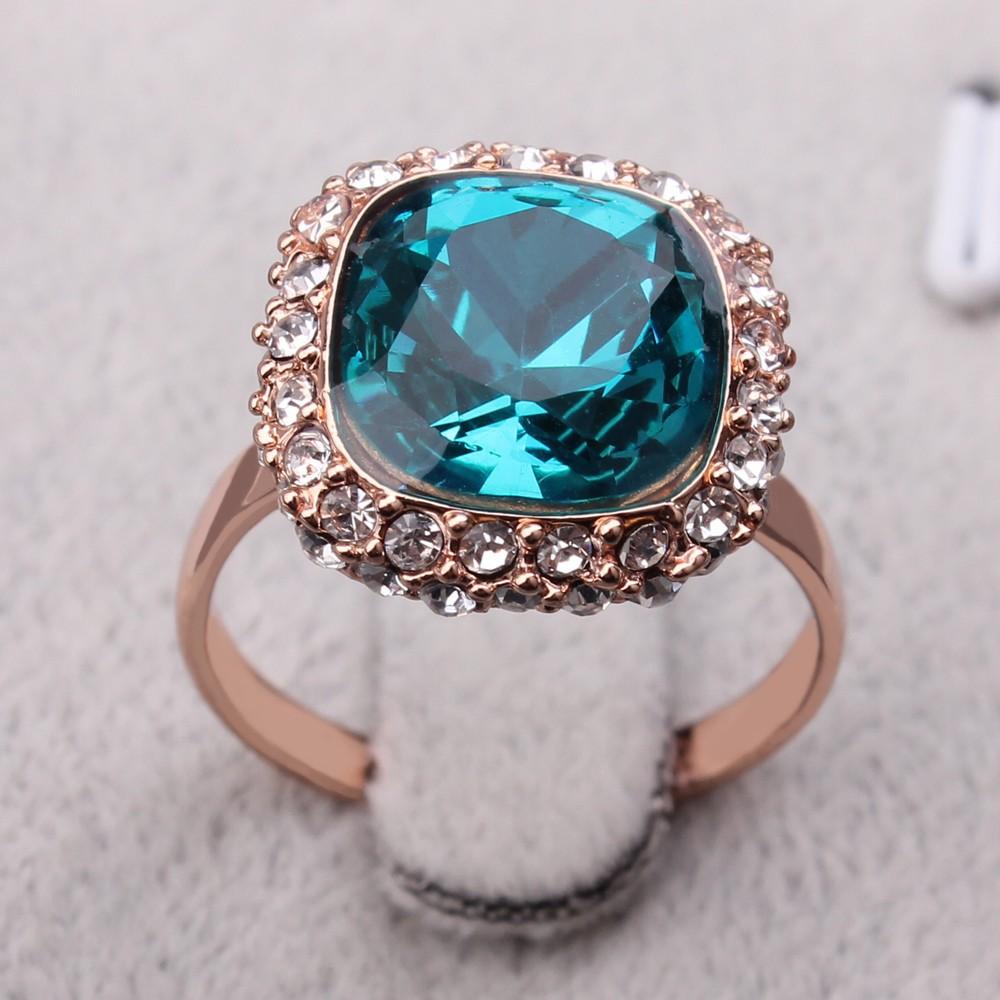 20357c0f97d3 18 k oro rosa cristal de zafiro de imitación anillos de compromiso de  diamantes