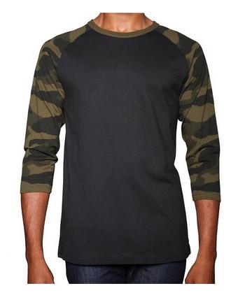 Custom Raglan Camo T Shirt 3 4 Sleeve Raglan T Shirt Mens