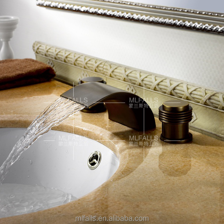 Oil Rubbed Bronze Double Handles Waterfall Bathroom Sink Faucet Deck