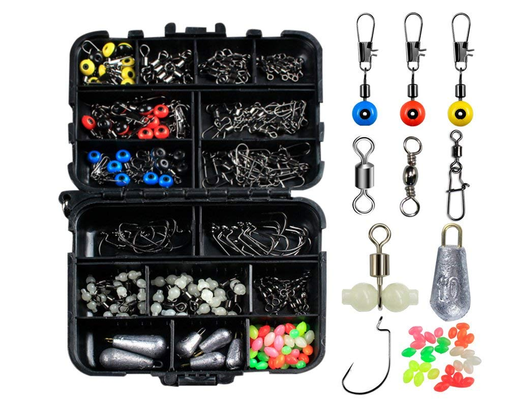 Fishing Accessories Kit with Tackle Box Set 177pcs Including Swivel Slides Ball Bearing Rolling Snap Barrel Jig Hook