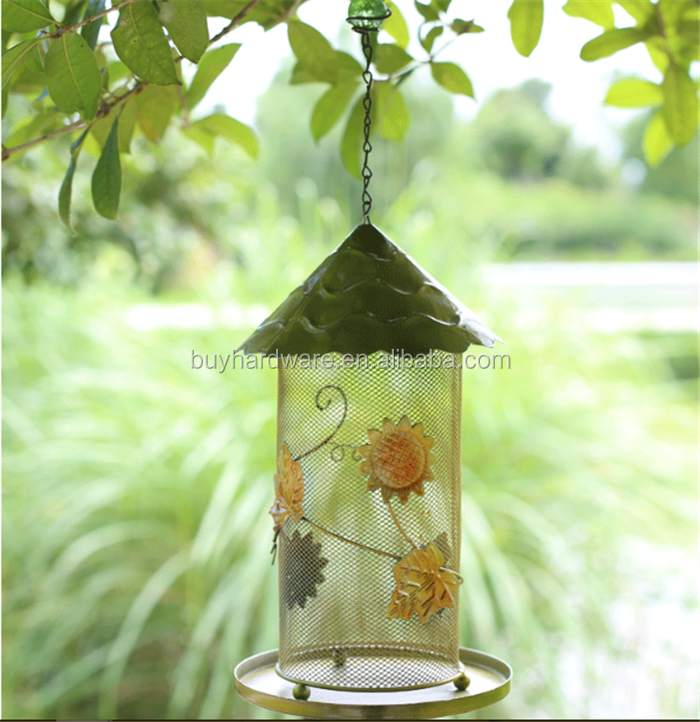 Blue desig metal automatic hanging peanut bird feeder, Modern brief hanging Garden metal bird feeder