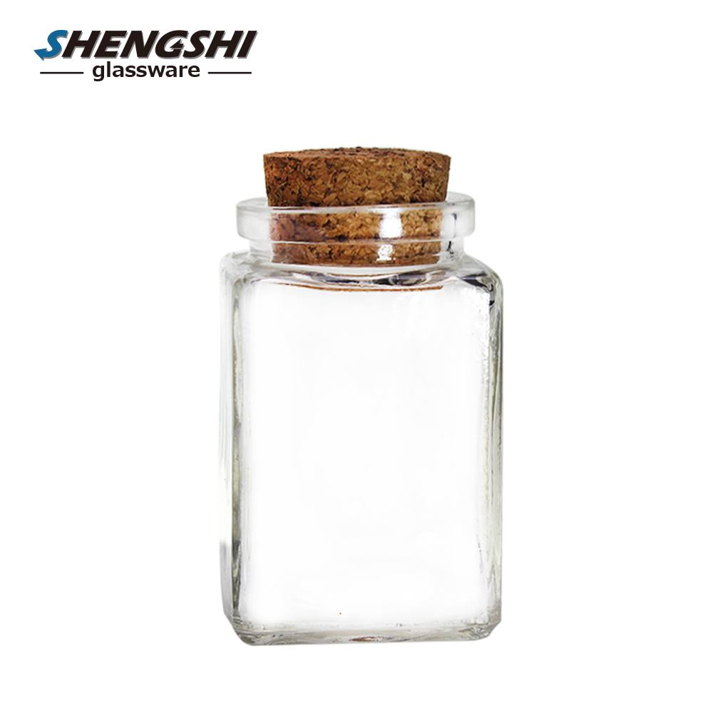 120ml clear square jars glass food jar/bottle with cork lid wholesale